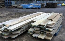 RECLAIMED WOODEN SCAFFOLD BOARDS - VARIOUS SIZES @ £0.75 PER FOOT.