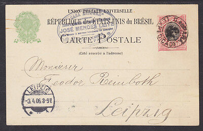 Brazil H G 27A Used 1898 100R Liberty Postal Card To Leipzig  Germany