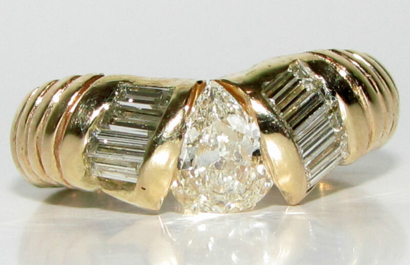 █$7000 1.20ct Pear Shape Diamond Band Ring 14kt█durable