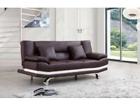 NEW LEATHER SOFA BED ONLY £199, 2 FREE CUSHIONS