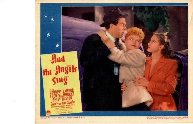 And The Angels Sing 1944 Original Release Lobby Card Lamour Hutton Macmurray