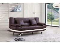 Stylish Brown Leather sofa bed with 2 free cushions, Free delivery