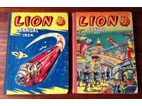 6 vintage Lion Annuals - 1954, 1955, 2 x 1956, 1958, 1968