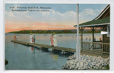 Bathing Scene Peninsula State Park Wisconsin 1910c postcard ()