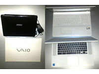 📞 4 laptops JOB LOT. MSI , 2x SONY VAIO , ACER CHROMEBOOK . relocating - hence price - must go