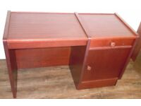Sturdy wooden desk with matching cabinet
