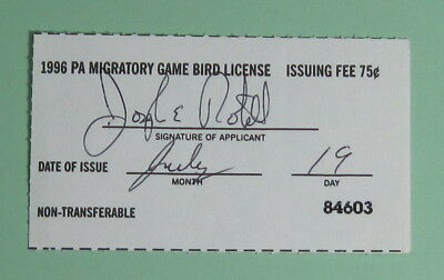 1996 Pennsylvania Resident Migratory Game Bird Hunting License Tag...Free Ship!
