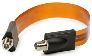 Premium Flat Coax Cable for Windows & Doors -  Satellite Cable - F Type Sockets