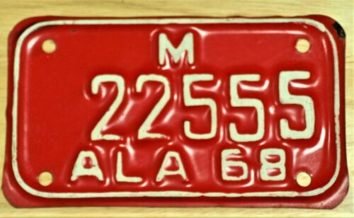 1968 ALABAMA M 22555 MOTORCYCLE LICENSE PLATE TAG ITEM #2961