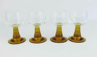 Vintage German Roemer Amber Wine Glasses Beehive Stems (4) 4.5