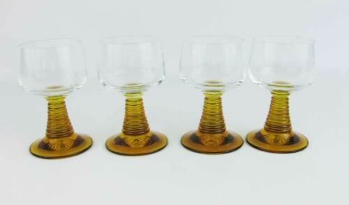 "Vintage German Roemer Amber Wine Glasses Beehive Stems (4) 4.5"" Tall"