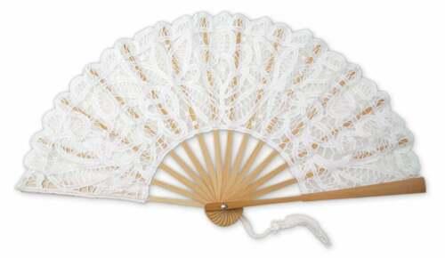 White Battenburg Lace Fan, Lace Fans for Wedding