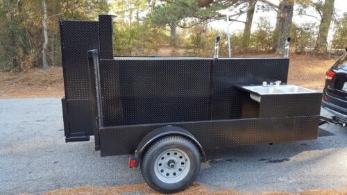 GodZilla Double Sink BBQ Smoker Trailer Food Truck Catering Street Cart Business