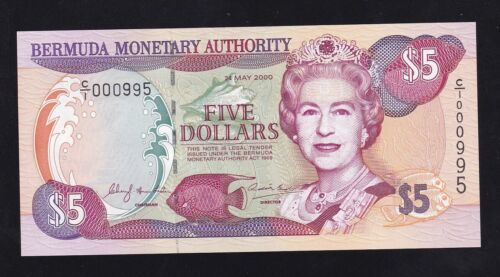 BERMUDA ----- 5  DOLLARS  2000 ---- UNC --- LOW SERIAL NUMBER ----