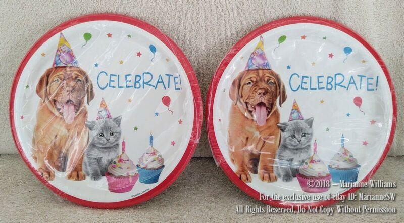 "NEW 20 PAPER 9"" DINNER PLATES HAPPY BIRTHDAY CELEBRATION PARTY DOG & CAT CUPCAKE"