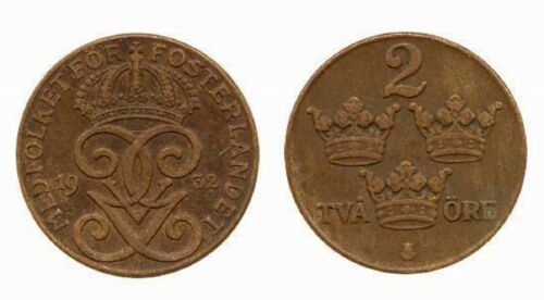 Sweden 2 Ore From 4 Decades 20s-50s (KM778)