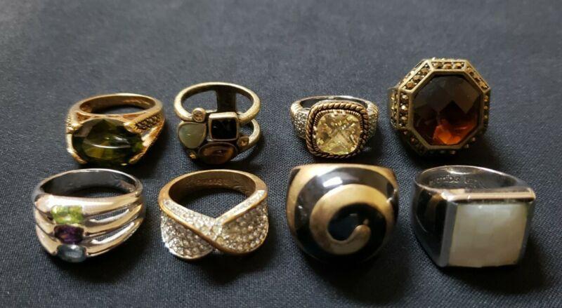Lia Sophia gold tone silver tone glass rhinestone rings