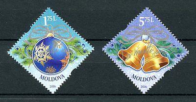 Moldova 2016 MNH Merry Christmas & Happy New Year 2v Set Ornaments Stamps