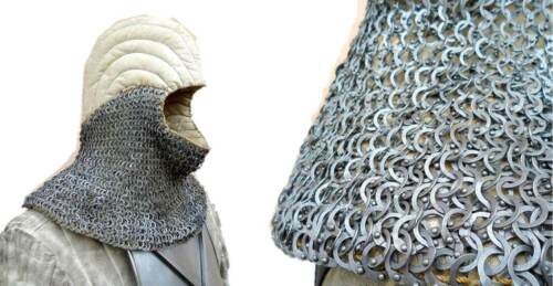 MS Flat Riveted Oil Finish 9 mm Chain Mail Medieval Hood