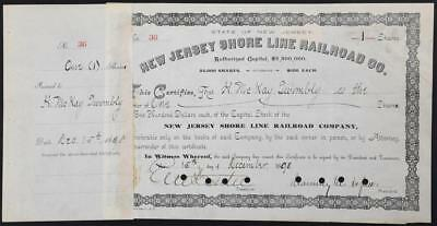 VERY Rare 1898 New Jersey Shore Line Railroad Company Stock Chauncey Depew