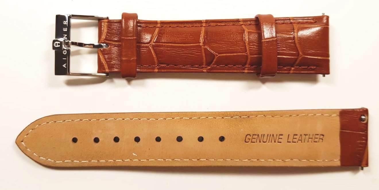 AIGNER Uhrenarmband Ersatzband für Uhr / Herrenuhr Lederband 20 mm NEU braun 6