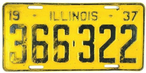 Illinois 1937 Vintage License Plate Antique Car Tag Garage Man Cave Gift Yellow