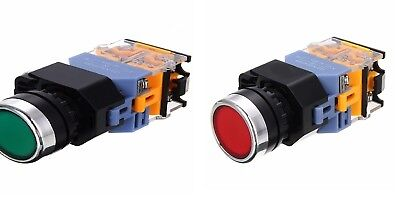 2 Pcs 22mm Redgreen 1 Red Switch 1 Green Latching Switch With 220 V Light