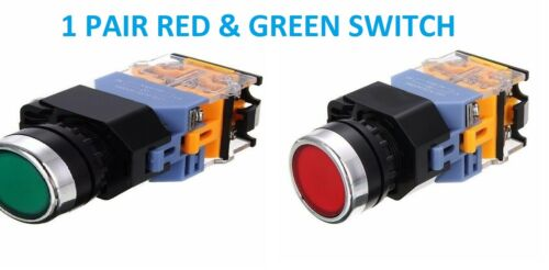2 PCS 22MM RED/GREEN 1 RED SWITCH & 1 GREEN , LATCHING SWITCH WITH 220 V LIGHT