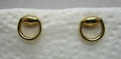 GUCCI 18 k Solid Yellow Sure Bits Earrings - Italy | VINTAGE Good Luck Wish Sign