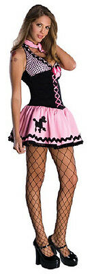 Hot Rod 50's Pink Black Poodle Skirt Fancy Dress Up Halloween Sexy Adult Costume ()