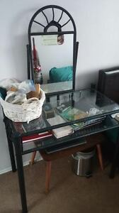 black/glass/ with mirror dresser with seat