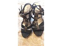 Gold detail wedge sandals size 8