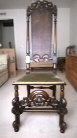 William & Mary Tall Wicker Back Chair