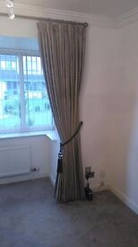 Vertical blinds and track (neutral beige)