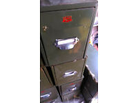 Vintage series metal filing cabinets/ boxes.