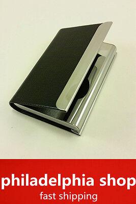 Metal Pu Business Id Credit Name Card Holder Case Wallet Black New 361