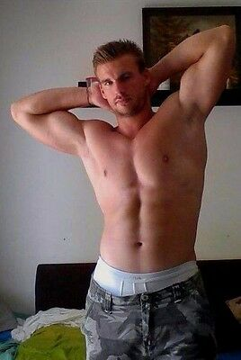 Shirtless Male Beefcake Muscular Hunk Arm Pits Hands Behind Head PHOTO 4X6 D313