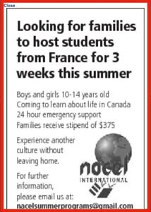 French students desperately looking for host families!