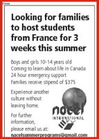 Host family needed for 14 year old boy from France!