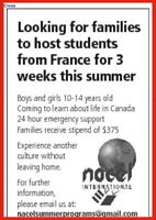 French exchange student looking for host family