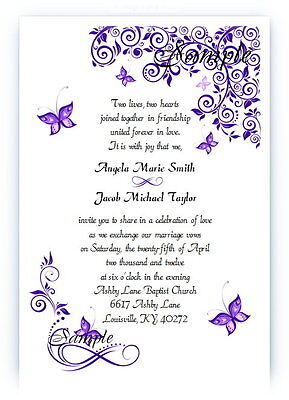100 Personalized Custom Purple Butterfly Bridal Wedding Invitations - Butterfly Invitations