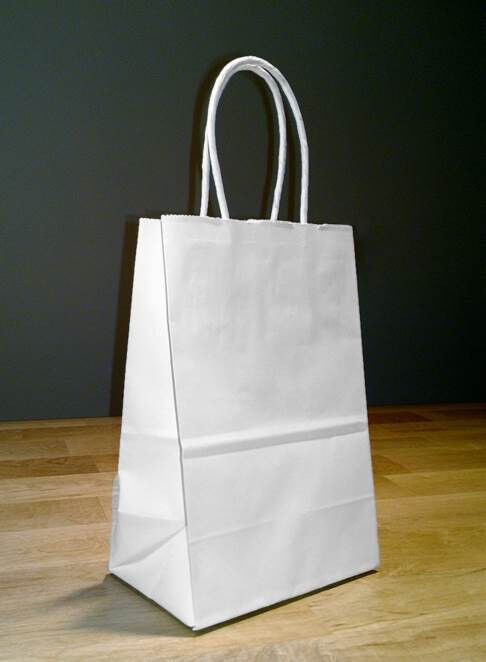 5.5 x 3.25 x 8.5 Small White Paper Shopping Gift Bags with R