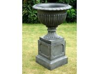 Large Garden Planter Regency Urn & Plinth Pewter Effect Garden Ornament Florist Wedding Vase