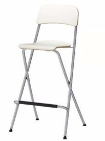 Foldable barstool with backrest - white