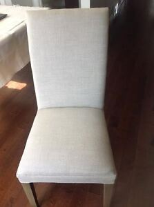 Two Restoration Hardware Linen Dining Chairs