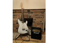 Stagg Stratocaster guitar (white) with Marshall Amp and stand great for beginners