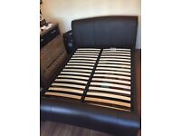 KING SIZE BED FRAME- LEATHER, 2 DRAWS, EXCELLENT CONDITION