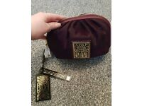 Red Biba Cosmetic Bag Real Leather
