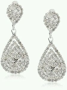 Clear Crystal Earrings Long drop dangle Wedding Bridal Pageant Prom Jewelry gems