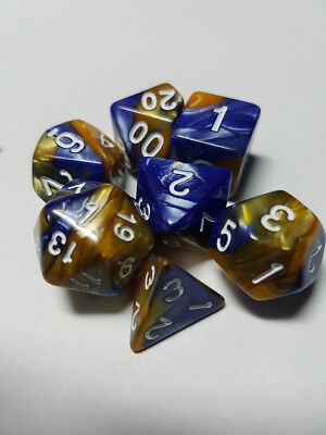 HD Dice Elemental 7 x Polyhedral dice Set Dark Blue and Gold with White D&D RPG